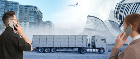 Logistics concept, banner design. People talking by phones. Truck, plane and buildings on background, toned in blue Stock Photo