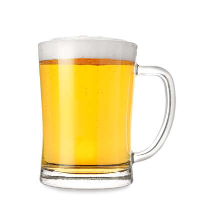 Glass mug with tasty beer isolated on white