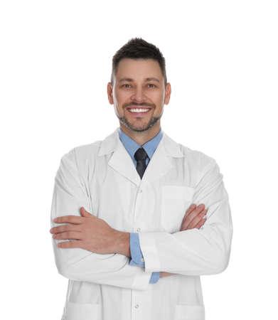 Happy man in lab coat on white background Stock Photo