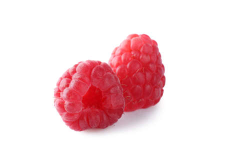 Delicious sweet ripe raspberries isolated on white