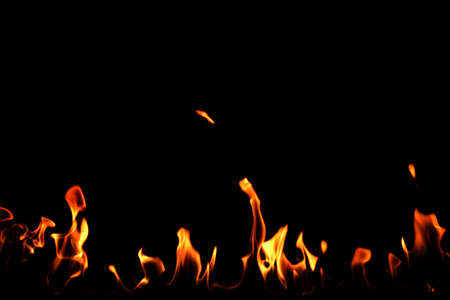 Beautiful bright fire flames on black background