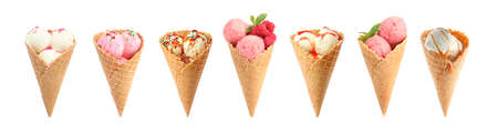Set of different ice creams in wafer cones on white background. Banner design Banco de Imagens