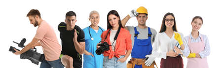 Career choice. People of different professions on white background, banner design