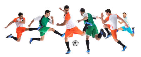 Collage of photos with young men playing football on white background. Banner design