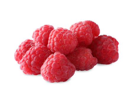 Delicious sweet ripe raspberries isolated on white Imagens