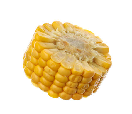Piece of corn cob isolated on white