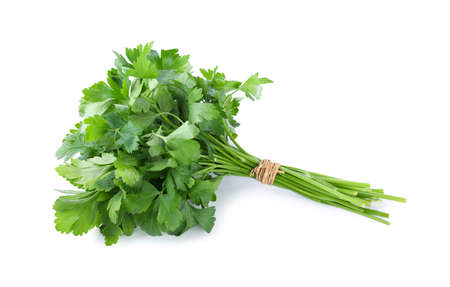 Bunch of fresh green parsley isolated on white Stock Photo