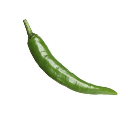 Green hot chili pepper isolated on white Imagens