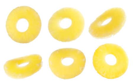 Canned pineapple rings flying on white background, banner design