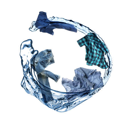 Water splash with different clothes isolated on white