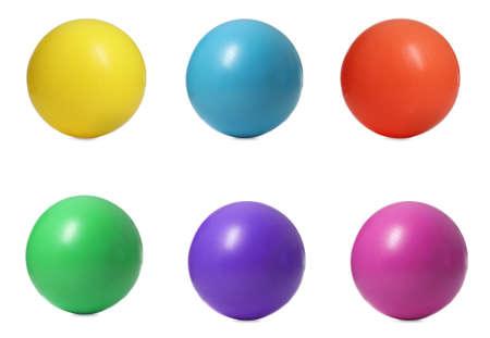Set of fitness balls on white background