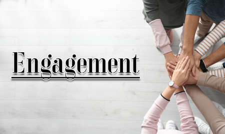Engagement concept. People holding hands together, top view Stock fotó