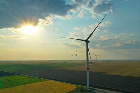 Aerial view on modern wind turbines. Alternative energy source