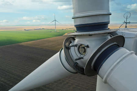 Modern wind turbine, closeup. Alternative energy source Archivio Fotografico