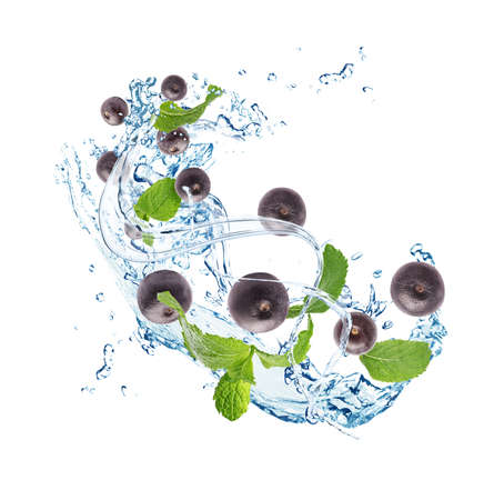 Water splash with acai berries and mint leaves on white background