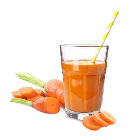 Carrot juice and fresh vegetable on white background Stockfoto