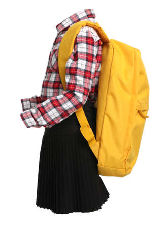 School uniform for girl and backpack on white background