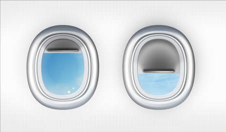 View on blue sky through open airplane portholes