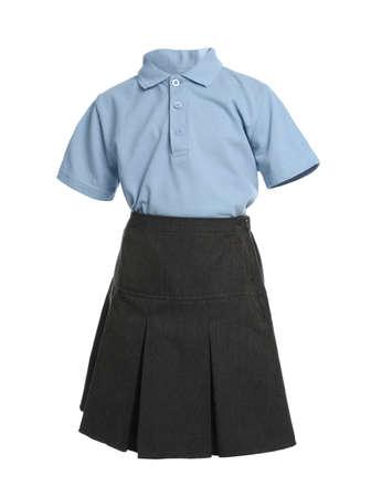 School uniform for girl on white background Foto de archivo