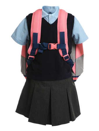 School uniform for girl on white background Zdjęcie Seryjne