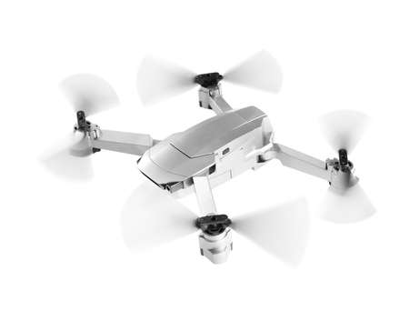 Drone flying on white background. Modern gadget