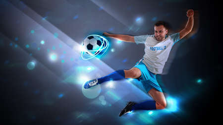 Shot of football player in action. Creative banner design 写真素材
