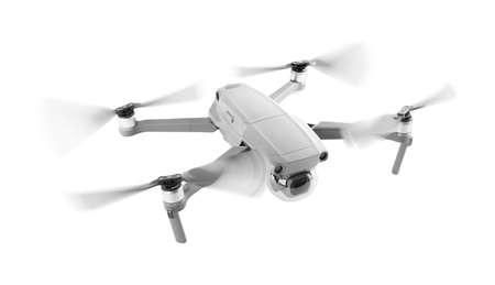 Modern drone flying on white background. Banner design