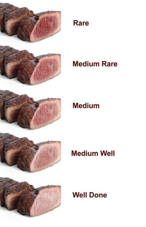 Delicious sliced beef tenderloins with different degrees of doneness on white background Imagens