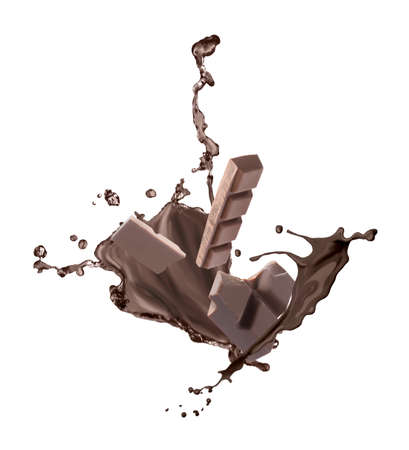 Yummy melted chocolate and falling pieces on white background