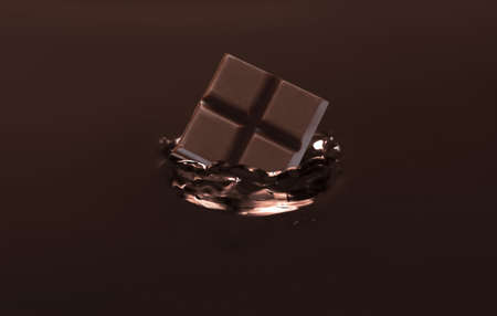 Yummy melted chocolate with falling pieces as background