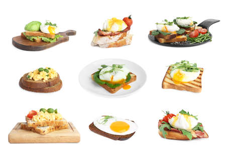 Set of different egg sandwiches on white background