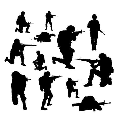 Collage with silhouettes of soldiers on white background. Military service Reklamní fotografie