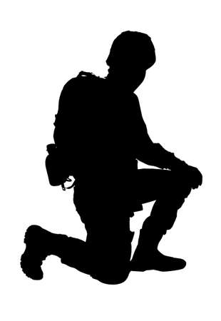 Silhouette of soldier on white background. Military service