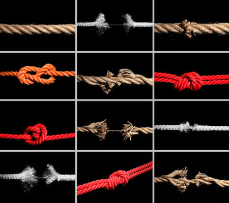Set of different ropes on black background