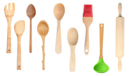 Set with different wooden cooking utensils on white background, banner design