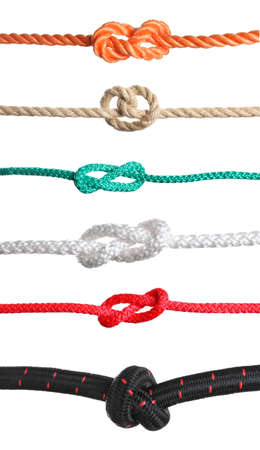 Set of different ropes with knots on white background Archivio Fotografico