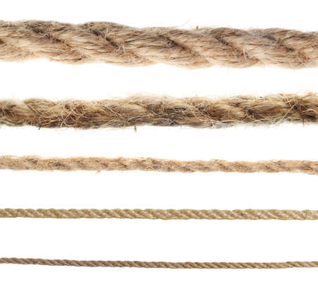 Set of hemp ropes on white background