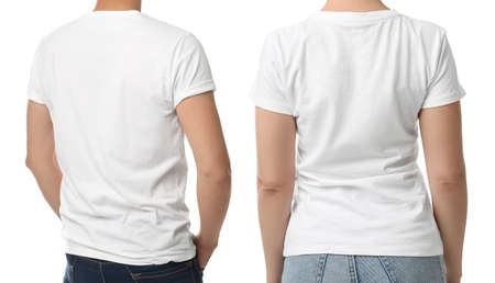 Man and woman in t-shits on white background, closeup with back view. Mockup for design Stock fotó - 155447233