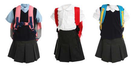 Set of school uniforms for girls on white background. Banner design Stockfoto