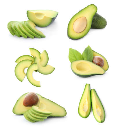 Set of cut avocados on white background