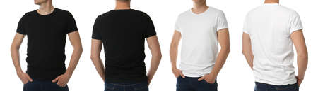 Men in t-shirts on white background, closeup with back and front view. Mockup for design Stock fotó - 155447234