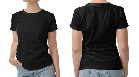 Woman in black t-shirt on white background, closeup with back and front view. Mockup for design Stock fotó