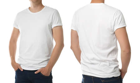 Man in t-shirt on white background, closeup with back and front view. Mockup for design Stock fotó - 155447237