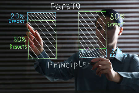 Woman writing 80/20 rule representation on glass board in office. Pareto principle concept