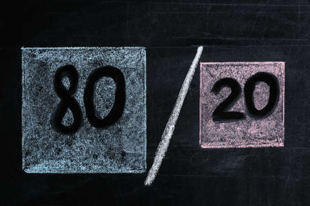 80/20 rule representation drawn on blackboard. Pareto principle concept