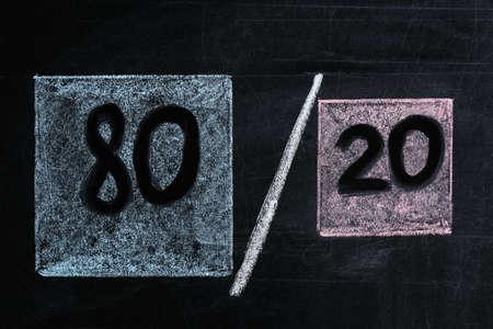 80/20 rule representation drawn on blackboard. Pareto principle concept