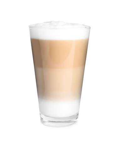 Glass of delicious latte macchiato isolated on white