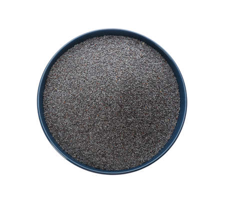 Poppy seeds in ceramic bowl isolated on white, top view