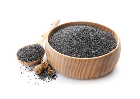 Bowl and spoon with poppy seeds on white background 版權商用圖片