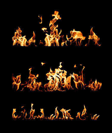 Collection of bright fire flames on black background Reklamní fotografie